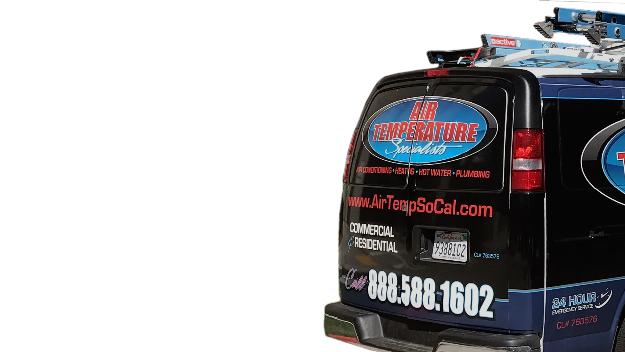 Back of ATS Van advertising air conditioning, heating, hot water and plumbing repair in Murrieta